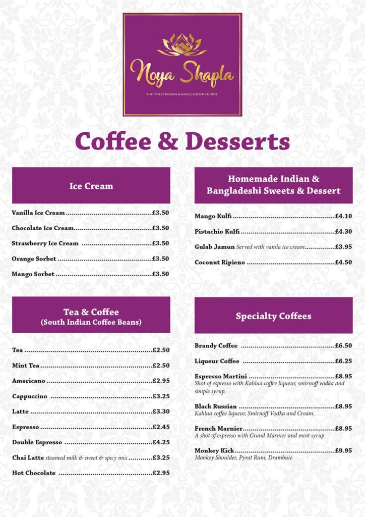 Coffee & Dessert Menu